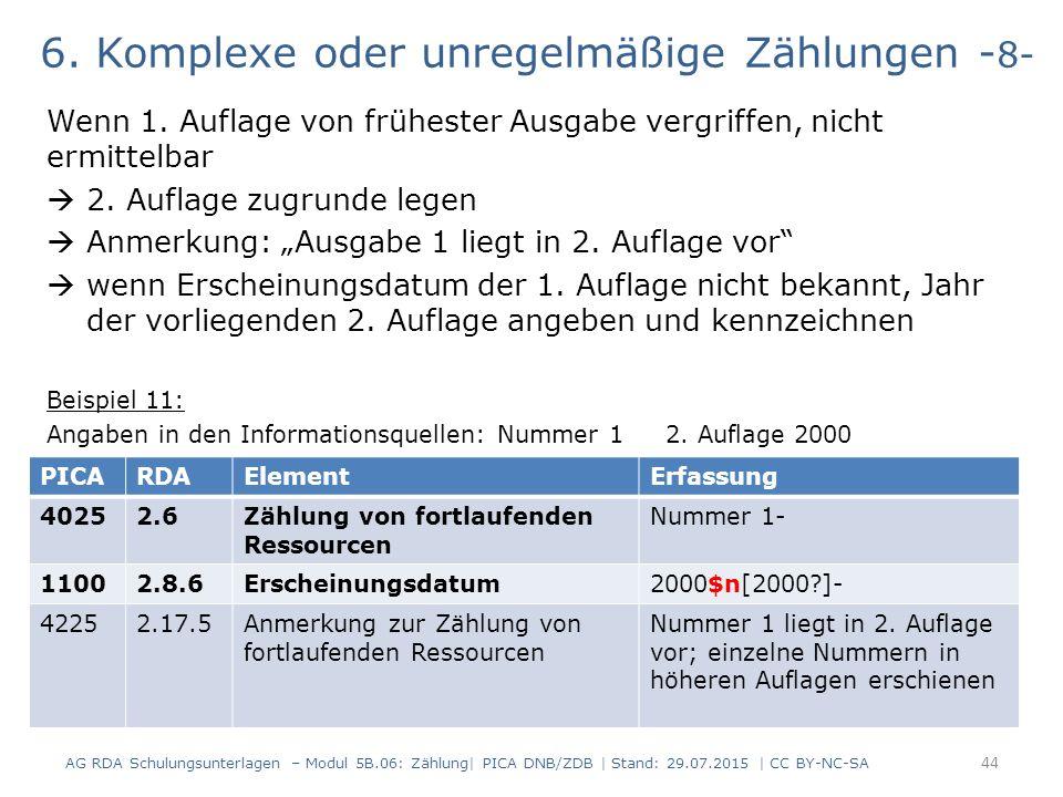 6. Komplexe oder unregelmäßige Zählungen - 8- Wenn 1.