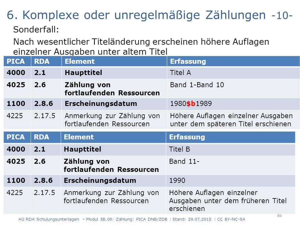 6. Komplexe oder unregelmäßige Zählungen -10- Sonderfall: Nach wesentlicher Titeländerung erscheinen höhere Auflagen einzelner Ausgaben unter altem Ti