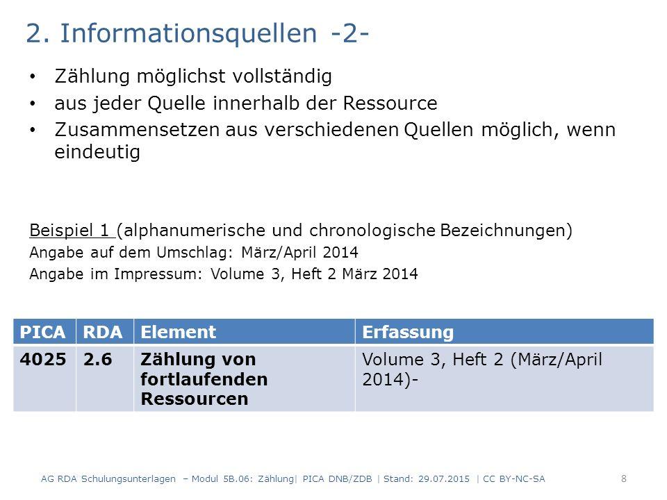 2. Informationsquellen -2- Zählung möglichst vollständig aus jeder Quelle innerhalb der Ressource Zusammensetzen aus verschiedenen Quellen möglich, we