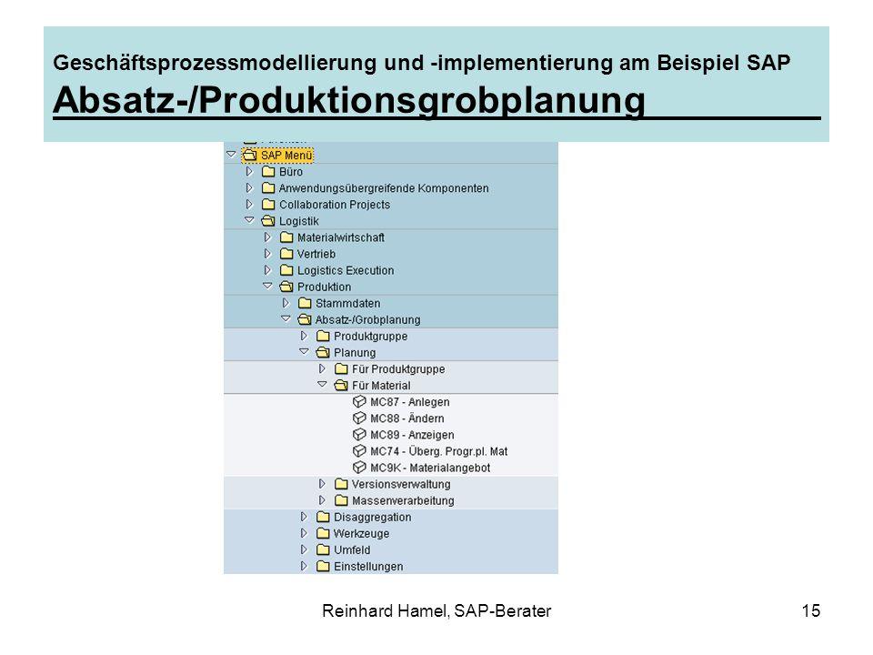 Reinhard Hamel, SAP-Berater15 Geschäftsprozessmodellierung und -implementierung am Beispiel SAP Absatz-/Produktionsgrobplanung