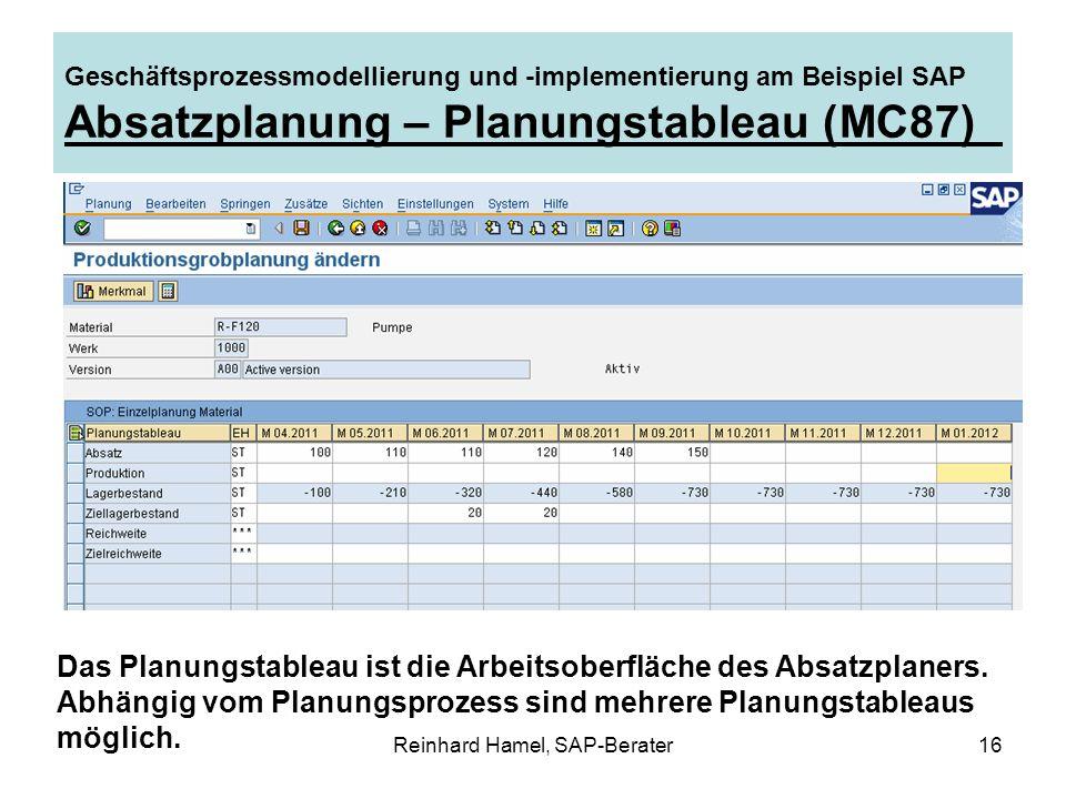 Reinhard Hamel, SAP-Berater16 Geschäftsprozessmodellierung und -implementierung am Beispiel SAP Absatzplanung – Planungstableau (MC87) Das Planungstab