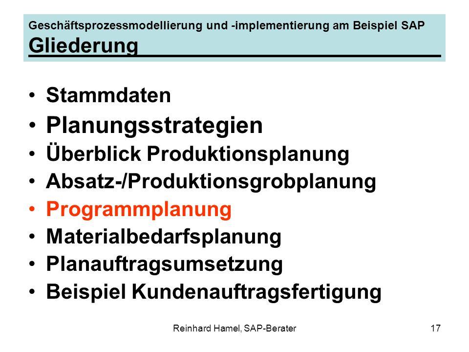 Reinhard Hamel, SAP-Berater17 Geschäftsprozessmodellierung und -implementierung am Beispiel SAP Gliederung Stammdaten Planungsstrategien Überblick Pro
