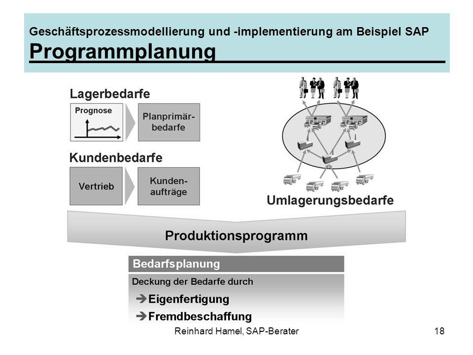 Reinhard Hamel, SAP-Berater18 Geschäftsprozessmodellierung und -implementierung am Beispiel SAP Programmplanung