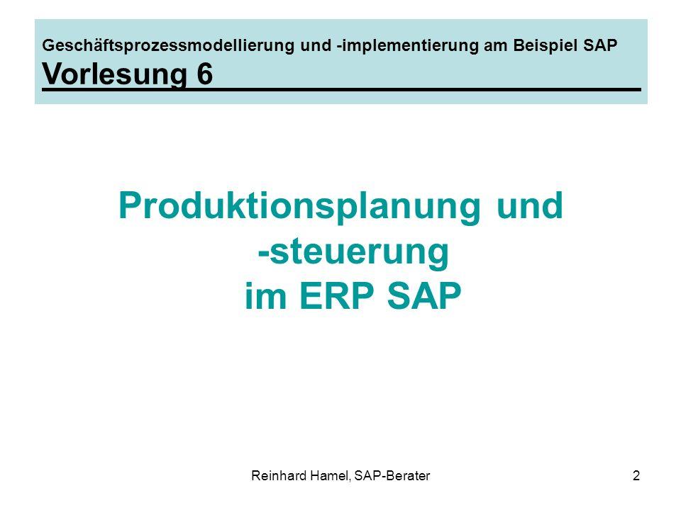 Reinhard Hamel, SAP-Berater33 Geschäftsprozessmodellierung und -implementierung am Beispiel SAP Gliederung Stammdaten Planungsstrategien Absatz-/Produktionsgrobplanung Programmplanung Materialbedarfsplanung Planauftragsumsetzung Beispiel Kundenauftragsfertigung