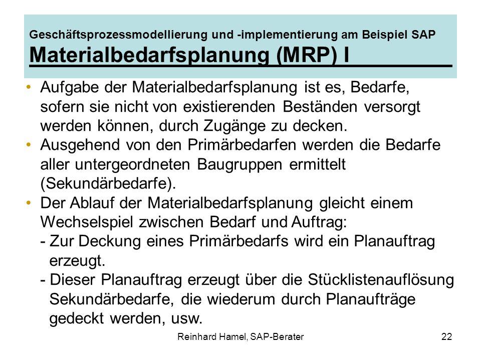 Reinhard Hamel, SAP-Berater22 Geschäftsprozessmodellierung und -implementierung am Beispiel SAP Materialbedarfsplanung (MRP) I Aufgabe der Materialbed