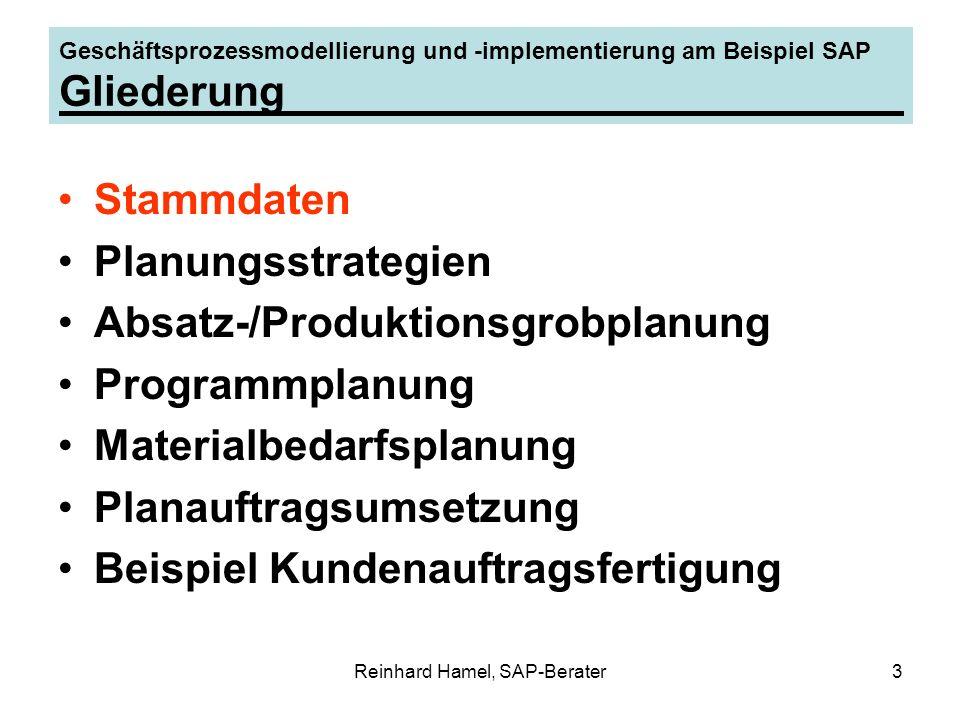 Reinhard Hamel, SAP-Berater3 Geschäftsprozessmodellierung und -implementierung am Beispiel SAP Gliederung Stammdaten Planungsstrategien Absatz-/Produk