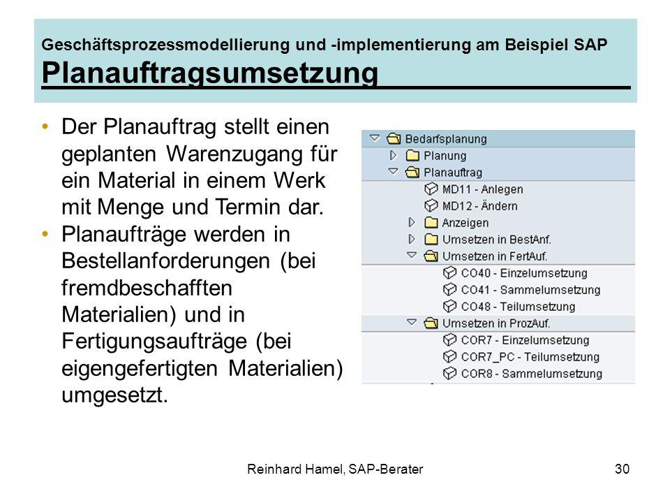 Reinhard Hamel, SAP-Berater30 Geschäftsprozessmodellierung und -implementierung am Beispiel SAP Planauftragsumsetzung Der Planauftrag stellt einen gep