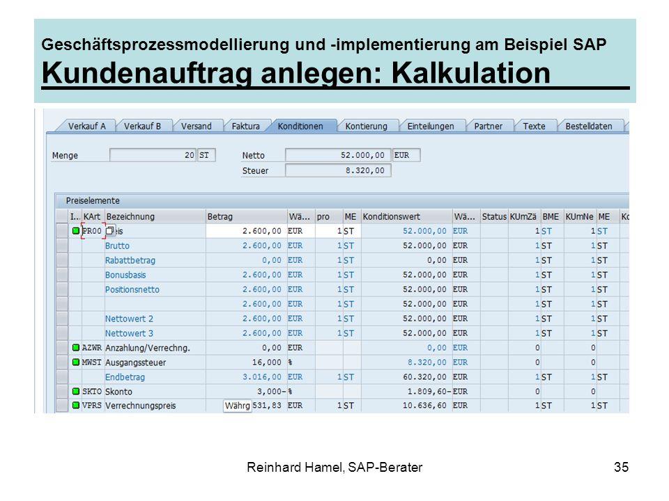 Reinhard Hamel, SAP-Berater35 Geschäftsprozessmodellierung und -implementierung am Beispiel SAP Kundenauftrag anlegen: Kalkulation