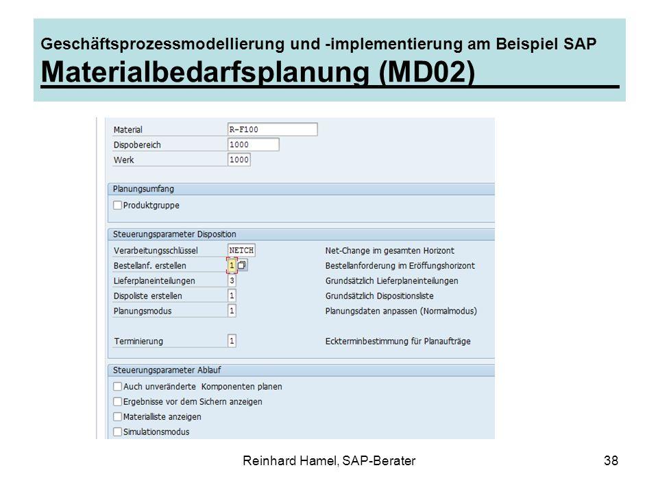 Reinhard Hamel, SAP-Berater38 Geschäftsprozessmodellierung und -implementierung am Beispiel SAP Materialbedarfsplanung (MD02)