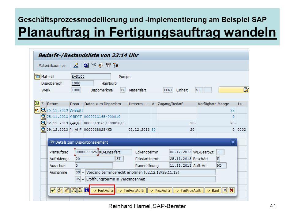 Reinhard Hamel, SAP-Berater41 Geschäftsprozessmodellierung und -implementierung am Beispiel SAP Planauftrag in Fertigungsauftrag wandeln