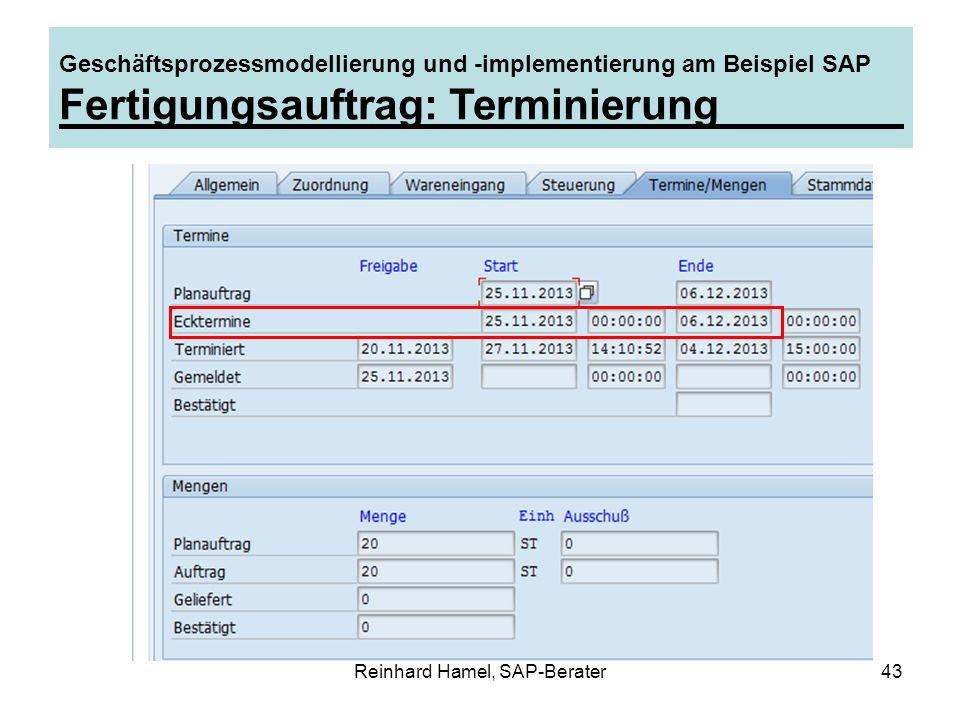 Reinhard Hamel, SAP-Berater43 Geschäftsprozessmodellierung und -implementierung am Beispiel SAP Fertigungsauftrag: Terminierung