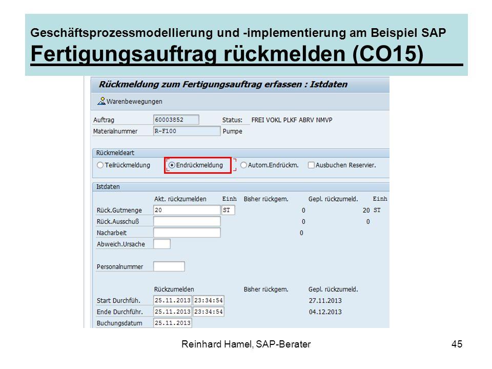 Reinhard Hamel, SAP-Berater45 Geschäftsprozessmodellierung und -implementierung am Beispiel SAP Fertigungsauftrag rückmelden (CO15)