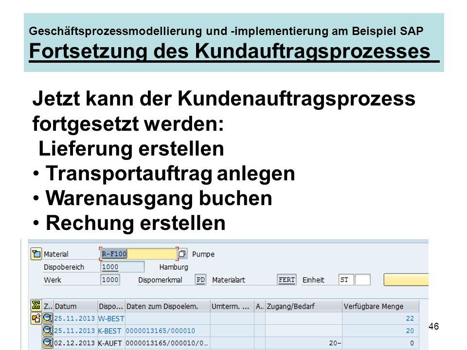 Reinhard Hamel, SAP-Berater46 Geschäftsprozessmodellierung und -implementierung am Beispiel SAP Fortsetzung des Kundauftragsprozesses Jetzt kann der K