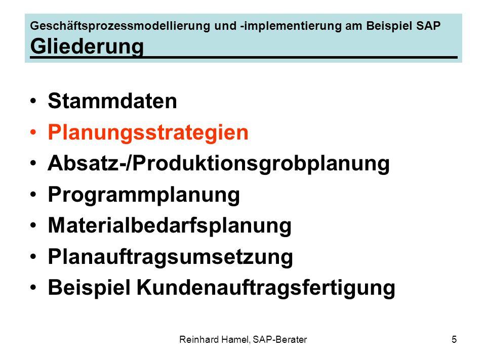 Reinhard Hamel, SAP-Berater6 Geschäftsprozessmodellierung und -implementierung am Beispiel SAP Planungsstrategien Lagerfertigung - Vorplanung mit Endmontage – Vorplanung auf Baugruppenebene Kundeneinzelfertigung - reine Kundeneinzelfertigung - Vorplanung ohne Endmontage Montageabwicklung