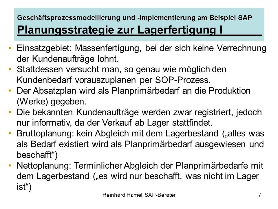 Reinhard Hamel, SAP-Berater7 Geschäftsprozessmodellierung und -implementierung am Beispiel SAP Planungsstrategie zur Lagerfertigung I Einsatzgebiet: M