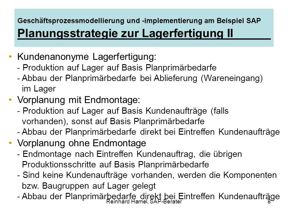 Reinhard Hamel, SAP-Berater8 Geschäftsprozessmodellierung und -implementierung am Beispiel SAP Planungsstrategie zur Lagerfertigung II Kundenanonyme L