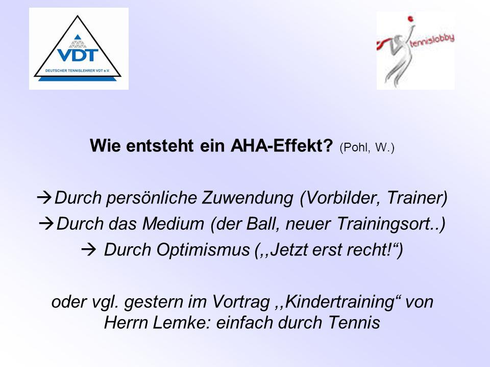 Wie entsteht ein AHA-Effekt? (Pohl, W.)  Durch persönliche Zuwendung (Vorbilder, Trainer)  Durch das Medium (der Ball, neuer Trainingsort..)  Durch