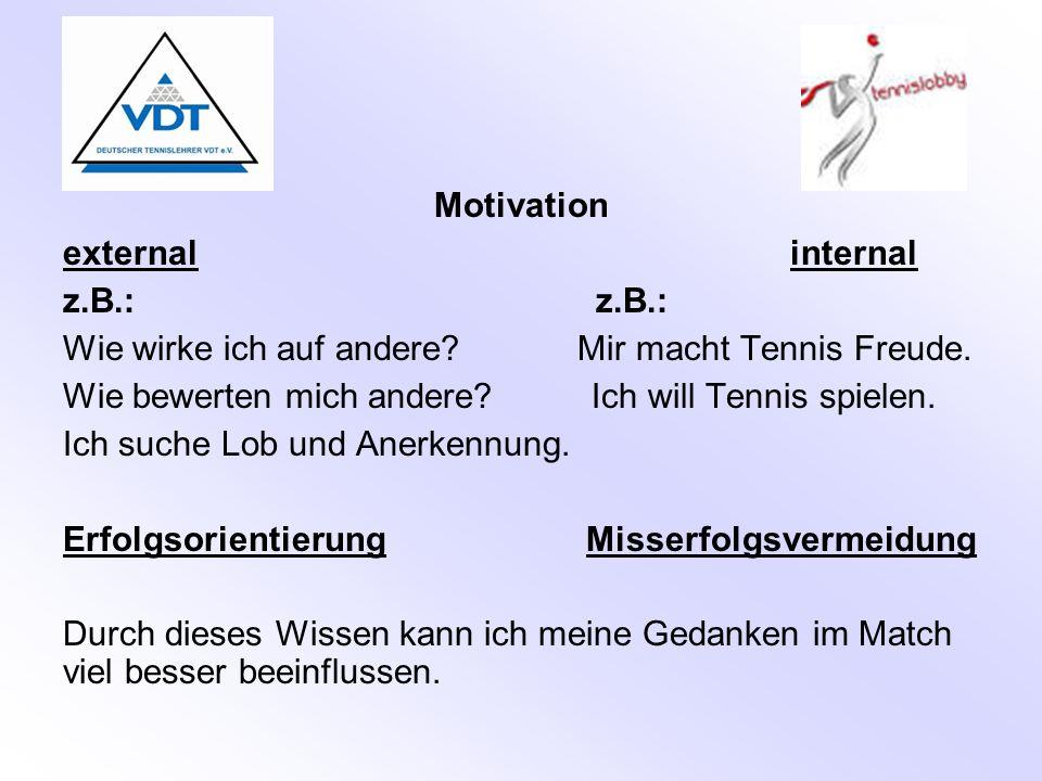 Motivation external internal z.B.: Wie wirke ich auf andere? Mir macht Tennis Freude. Wie bewerten mich andere? Ich will Tennis spielen. Ich suche Lob