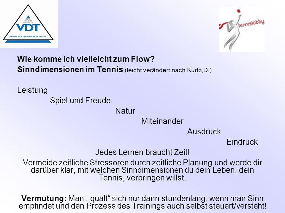 Wie komme ich vielleicht zum Flow? Sinndimensionen im Tennis (leicht verändert nach Kurtz,D.) Leistung Spiel und Freude Natur Miteinander Ausdruck Ein