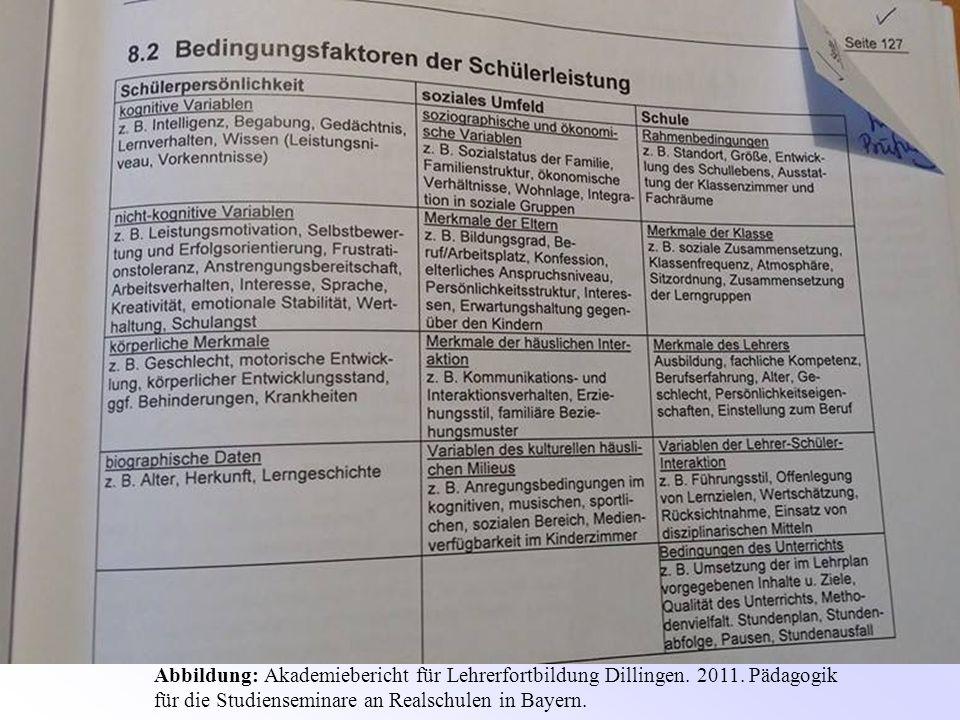 Viele Bedingungsfaktoren von Leistung auch außerhalb des Unterrichts Abbildung: Akademiebericht für Lehrerfortbildung Dillingen. 2011. Pädagogik für d