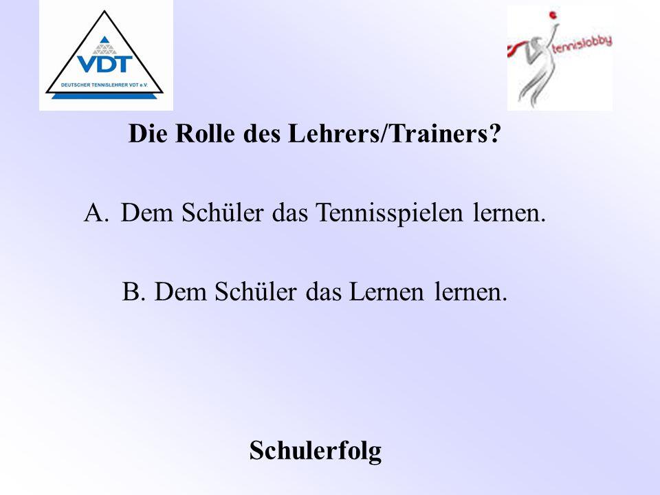Die Rolle des Lehrers/Trainers? A.Dem Schüler das Tennisspielen lernen. B. Dem Schüler das Lernen lernen. Schulerfolg