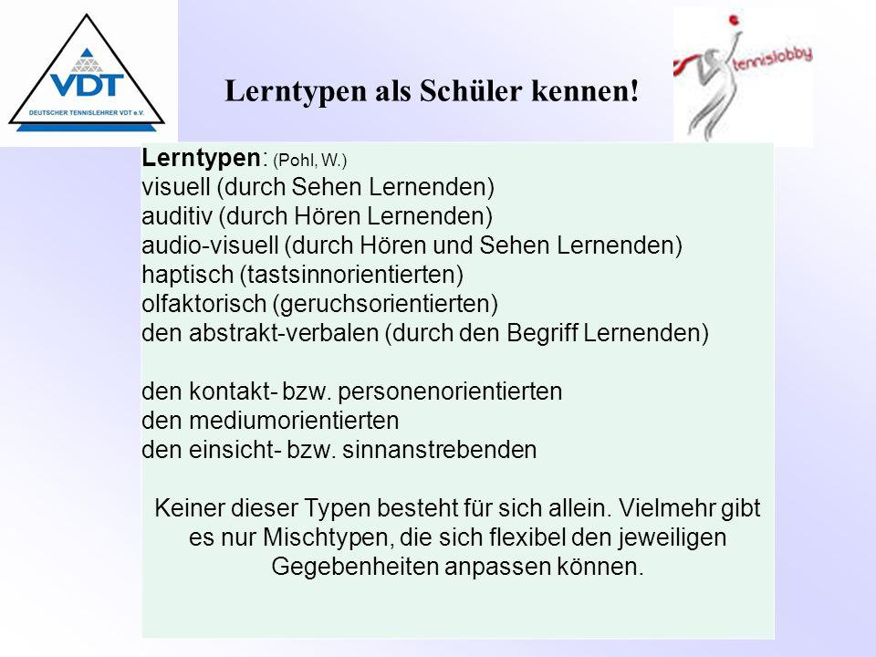 Lerntypen als Schüler kennen! Lerntypen: (Pohl, W.) visuell (durch Sehen Lernenden) auditiv (durch Hören Lernenden) audio-visuell (durch Hören und Seh