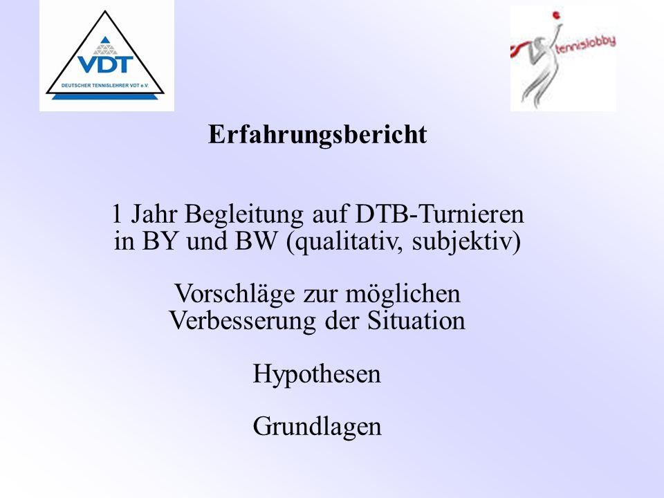 Erfahrungsbericht 1 Jahr Begleitung auf DTB-Turnieren in BY und BW (qualitativ, subjektiv) Vorschläge zur möglichen Verbesserung der Situation Hypothesen Grundlagen