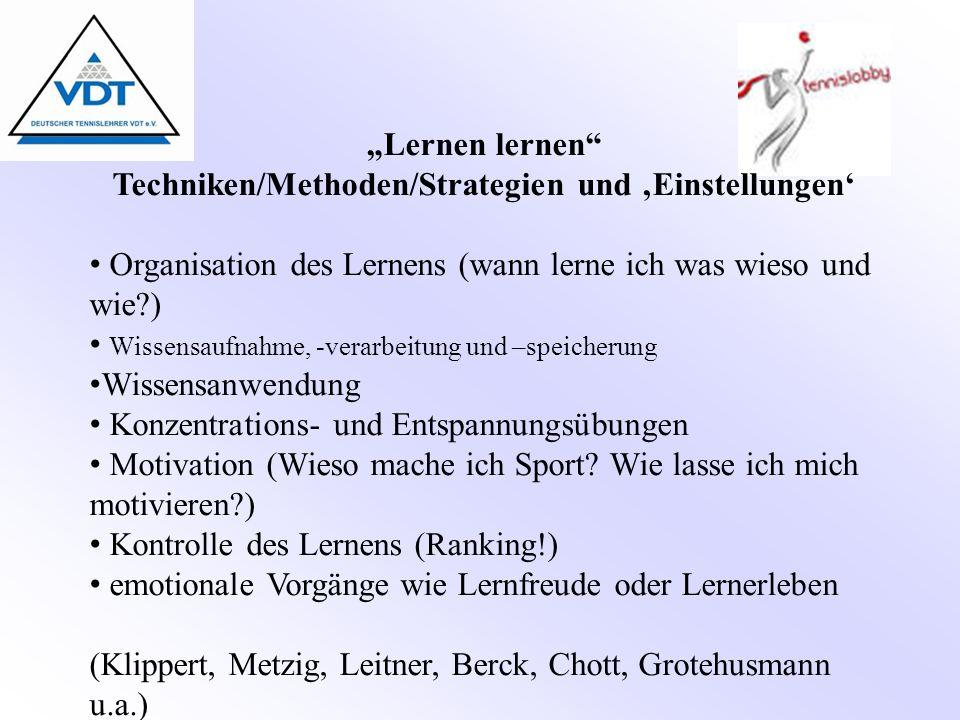"""""""Lernen lernen"""" Techniken/Methoden/Strategien und 'Einstellungen' Organisation des Lernens (wann lerne ich was wieso und wie?) Wissensaufnahme, -verar"""