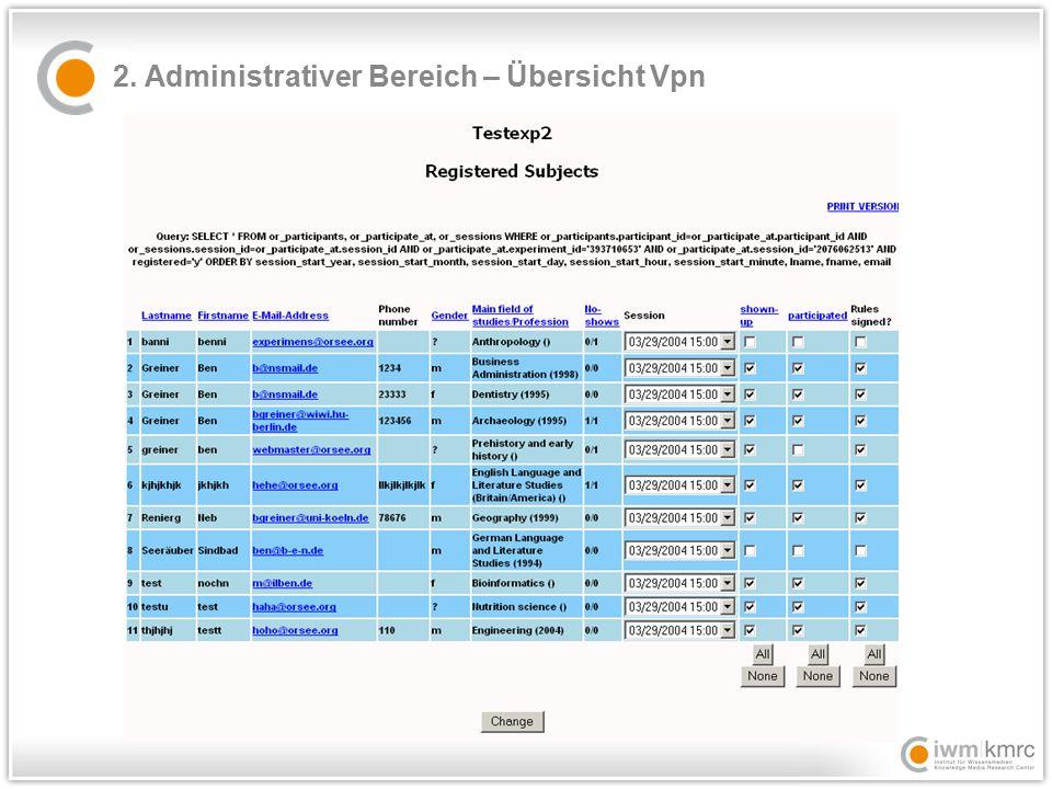 2. Administrativer Bereich – Übersicht Vpn