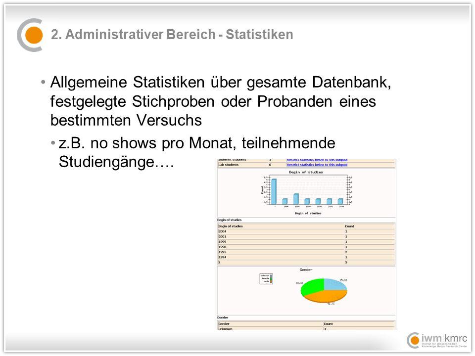 2. Administrativer Bereich - Statistiken Allgemeine Statistiken über gesamte Datenbank, festgelegte Stichproben oder Probanden eines bestimmten Versuc