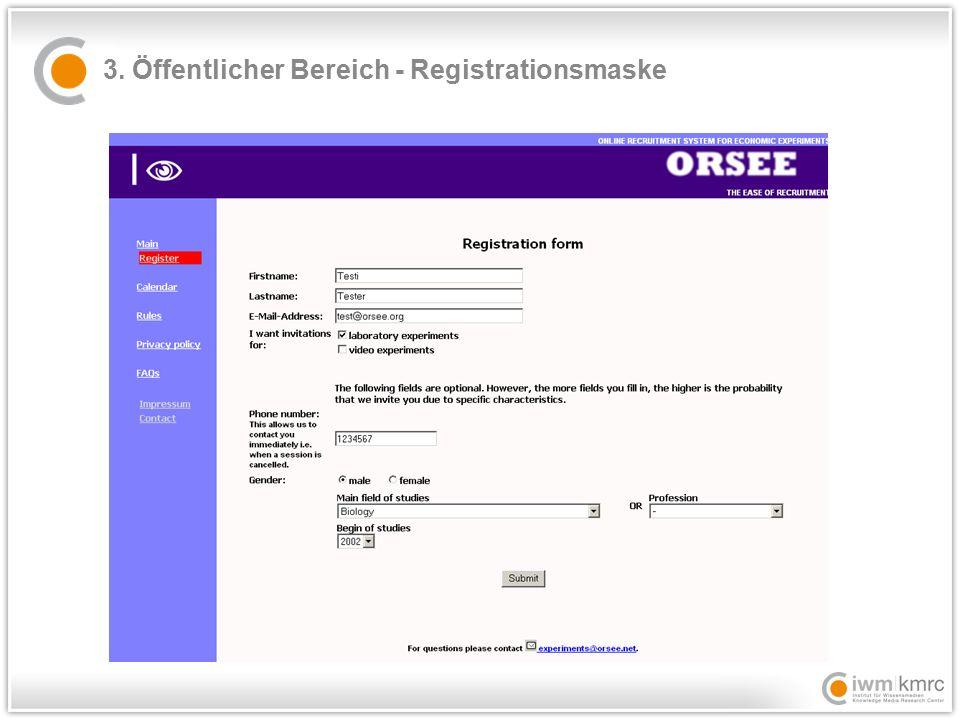 3. Öffentlicher Bereich - Registrationsmaske