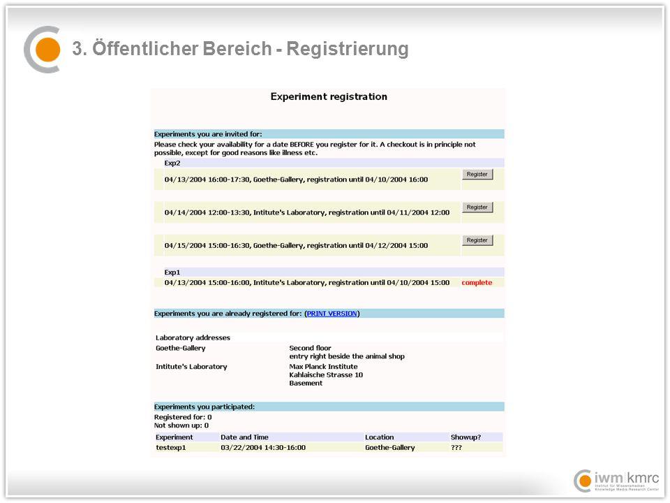 3. Öffentlicher Bereich - Registrierung