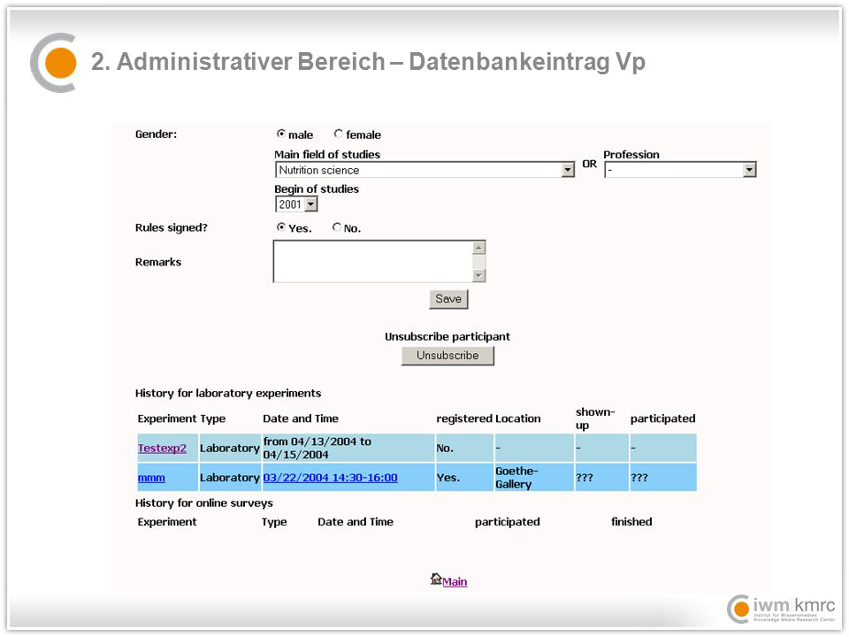 2. Administrativer Bereich – Datenbankeintrag Vp