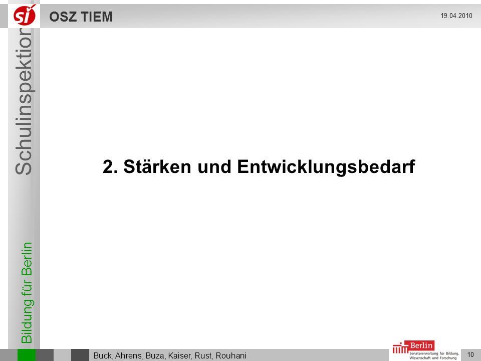 Bildung für Berlin Schulinspektion OSZ TIEM 10 Buck, Ahrens, Buza, Kaiser, Rust, Rouhani 19.04.2010 2. Stärken und Entwicklungsbedarf
