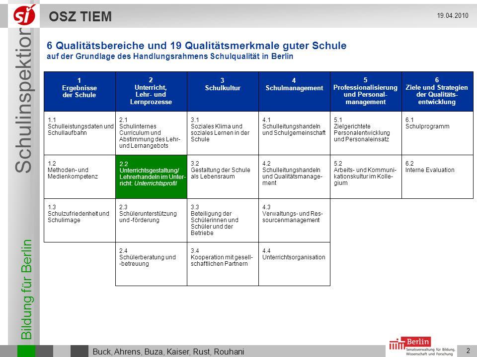 Bildung für Berlin Schulinspektion OSZ TIEM 2 Buck, Ahrens, Buza, Kaiser, Rust, Rouhani 19.04.2010 1 Ergebnisse der Schule 1.1 Schulleistungsdaten und