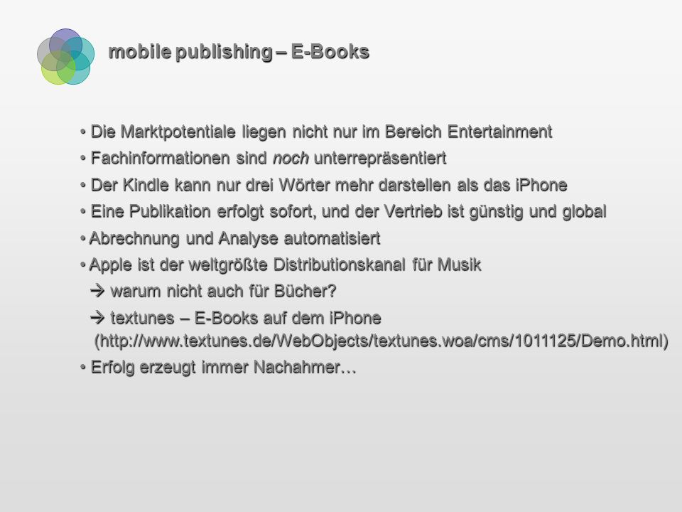 mobile publishing – E-Books 70% der Käufer entscheiden sich für das Kombinations-Angebot.