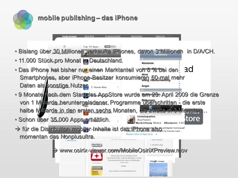mobile publishing – das iPhone Bislang über 30 Millionen verkaufte iPhones, davon 3 Millionen in D/A/CH.