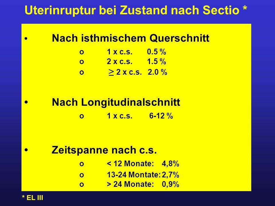 Uterinruptur bei Zustand nach Sectio * Nach isthmischem Querschnitt o1 x c.s. 0.5 % o2 x c.s. 1.5 % o ≥ 2 x c.s. 2.0 % Nach Longitudinalschnitt o1 x c