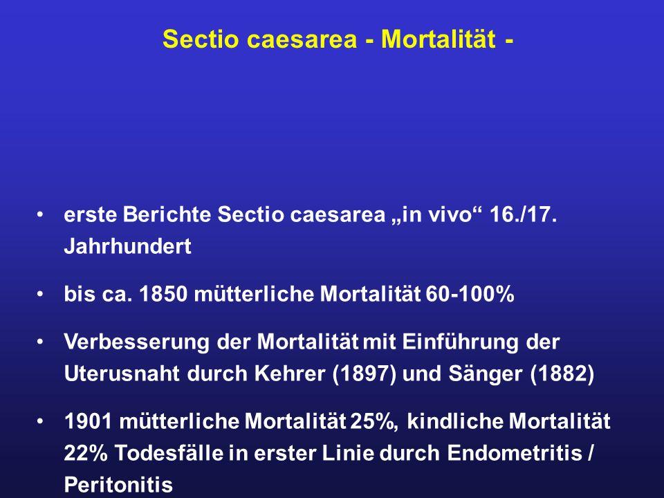 """erste Berichte Sectio caesarea """"in vivo"""" 16./17. Jahrhundert bis ca. 1850 mütterliche Mortalität 60-100% Verbesserung der Mortalität mit Einführung de"""