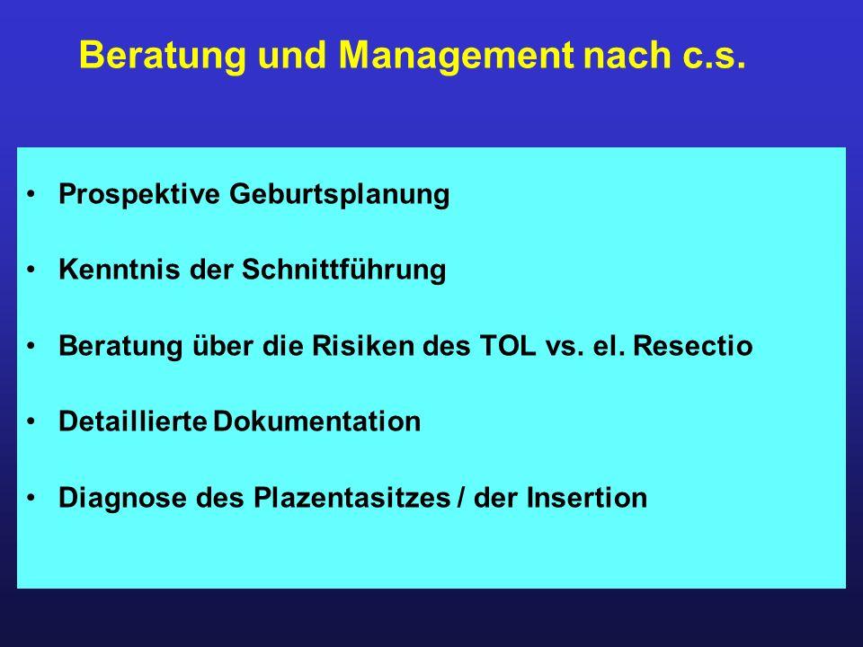 Prospektive Geburtsplanung Kenntnis der Schnittführung Beratung über die Risiken des TOL vs. el. Resectio Detaillierte Dokumentation Diagnose des Plaz