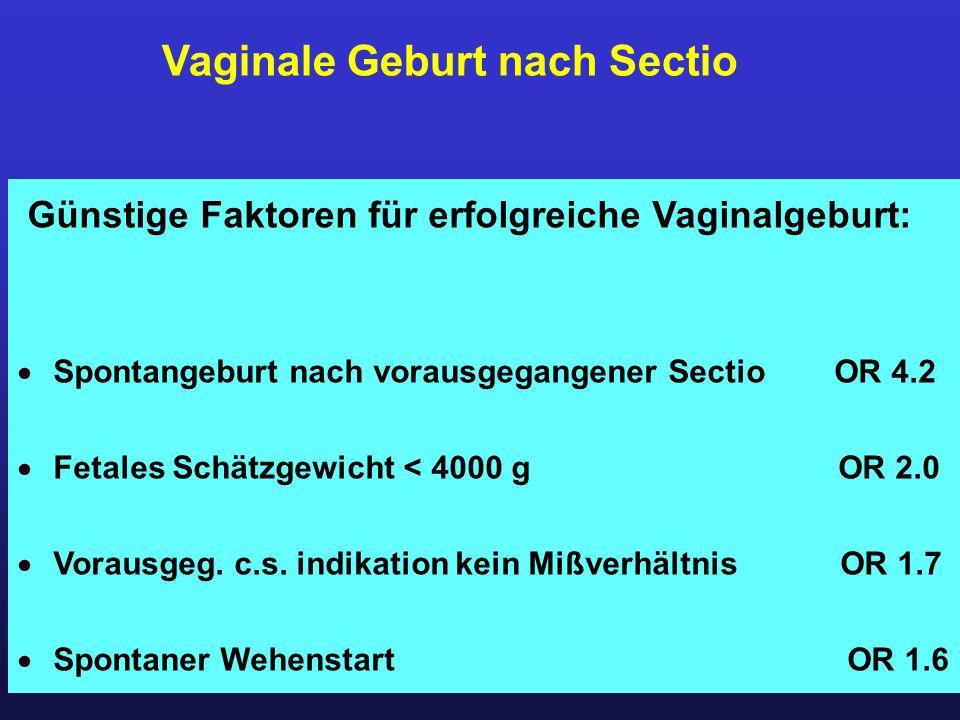Vaginale Geburt nach Sectio Günstige Faktoren für erfolgreiche Vaginalgeburt:  Spontangeburt nach vorausgegangener Sectio OR 4.2  Fetales Schätzgewi