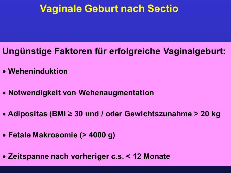 Vaginale Geburt nach Sectio Ungünstige Faktoren für erfolgreiche Vaginalgeburt:  Weheninduktion  Notwendigkeit von Wehenaugmentation  Adipositas (B