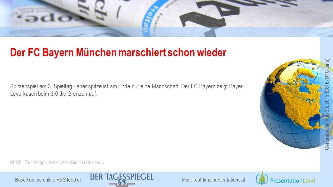 Based on the online RSS feed of Der FC Bayern München marschiert schon wieder Spitzenspiel am 3.