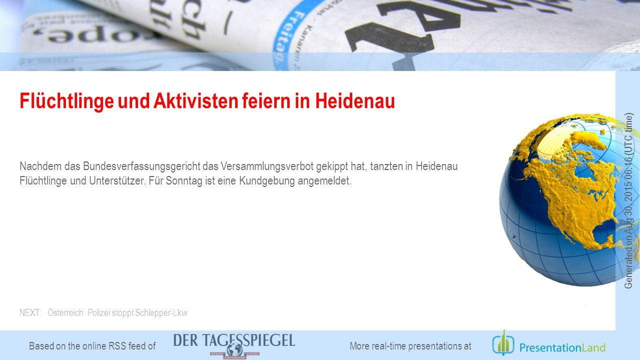 Based on the online RSS feed of Flüchtlinge und Aktivisten feiern in Heidenau Nachdem das Bundesverfassungsgericht das Versammlungsverbot gekippt hat, tanzten in Heidenau Flüchtlinge und Unterstützer.