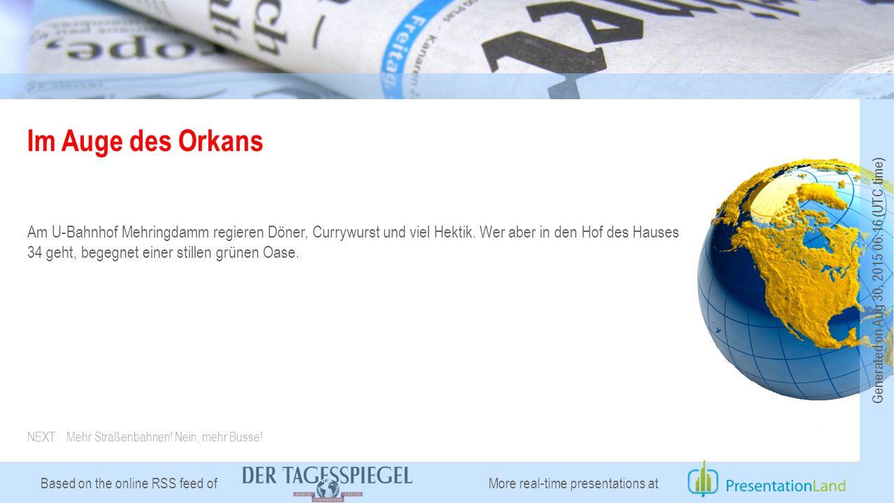 Based on the online RSS feed of Im Auge des Orkans Am U-Bahnhof Mehringdamm regieren Döner, Currywurst und viel Hektik.