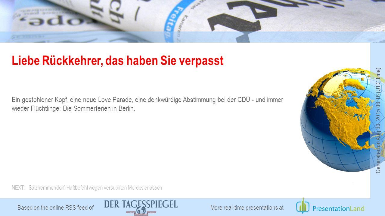 Based on the online RSS feed of Liebe Rückkehrer, das haben Sie verpasst Ein gestohlener Kopf, eine neue Love Parade, eine denkwürdige Abstimmung bei der CDU - und immer wieder Flüchtlinge: Die Sommerferien in Berlin.
