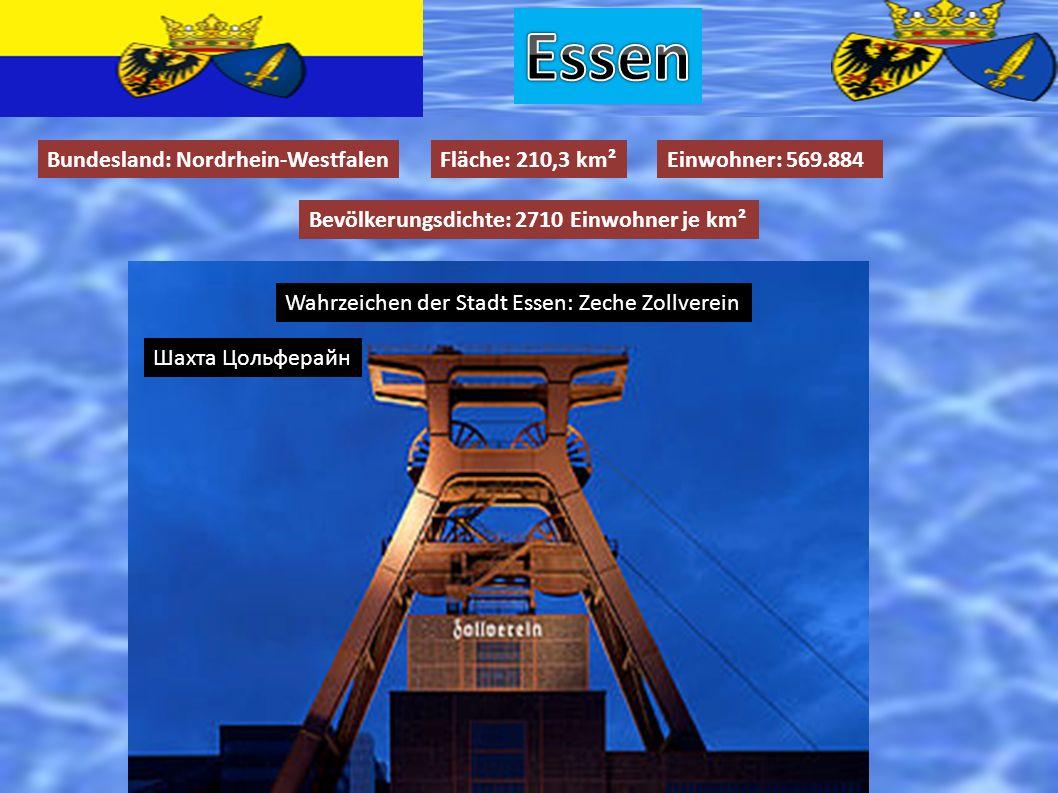 Bundesland: Nordrhein-WestfalenFläche: 210,3 km²Einwohner: 569.884 Bevölkerungsdichte: 2710 Einwohner je km² Wahrzeichen der Stadt Essen: Zeche Zollve