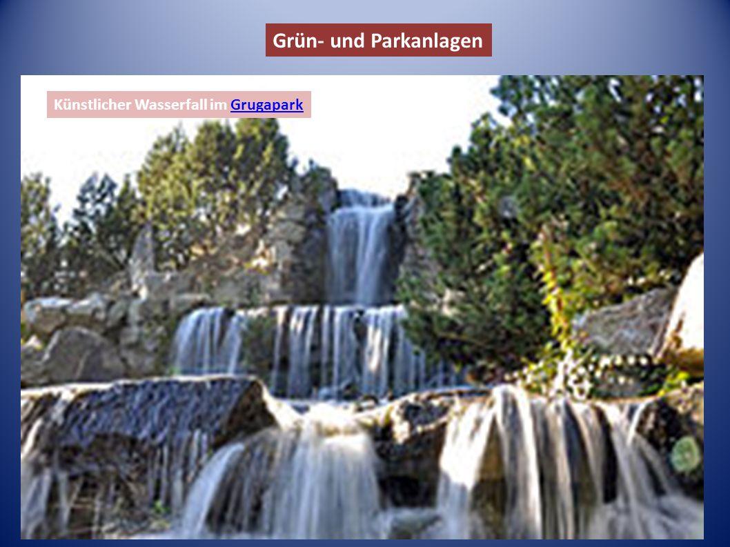 Grün- und Parkanlagen Künstlicher Wasserfall im GrugaparkGrugapark