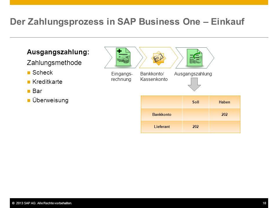 ©2013 SAP AG. Alle Rechte vorbehalten.18 Der Zahlungsprozess in SAP Business One – Einkauf Ausgangszahlung Bankkonto/ Kassenkonto Ausgangszahlung: Zah