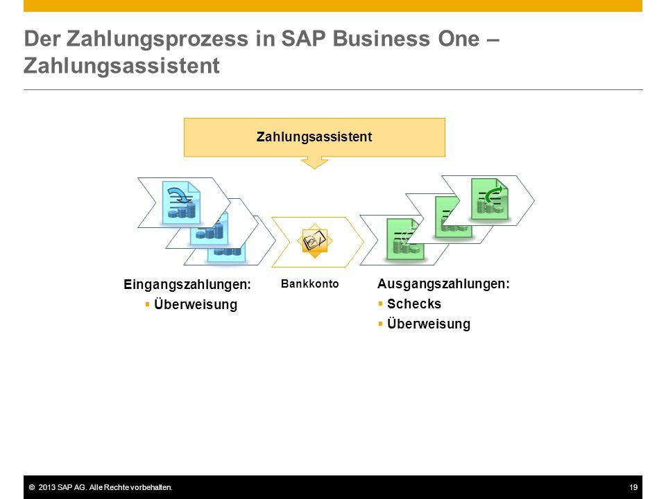 ©2013 SAP AG. Alle Rechte vorbehalten.19 Der Zahlungsprozess in SAP Business One – Zahlungsassistent Eingangszahlungen:  Überweisung Bankkonto Zahlun